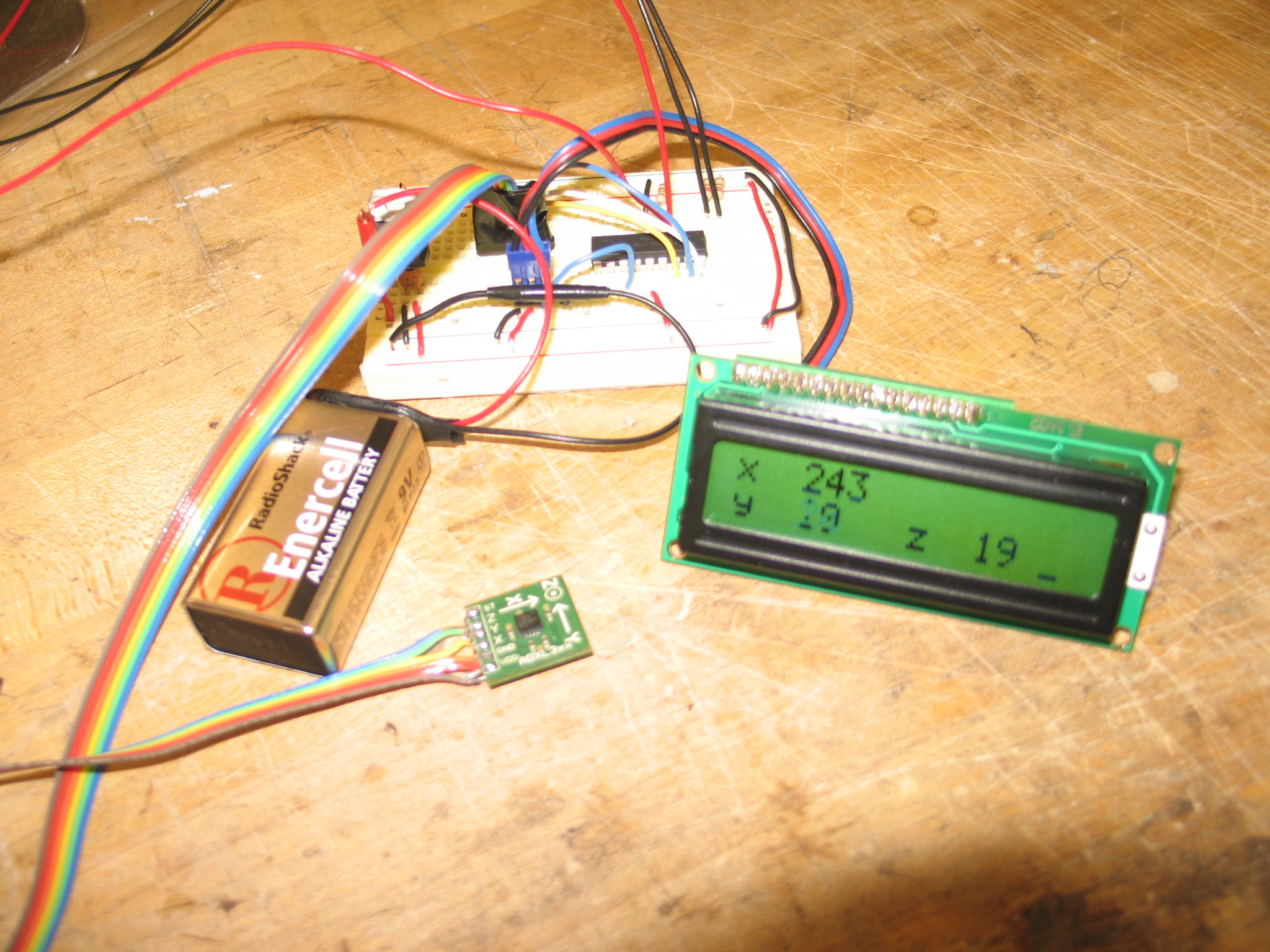 heres the completed circuit with an LCD screen outputting the axis values